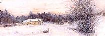 ベルナール・ガントナー「朝の冬景色」水彩