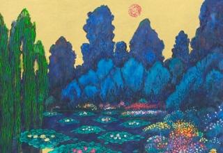 「 モネの池・静か」日本画 6号