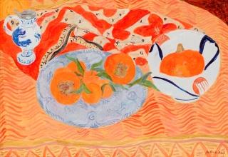 「柿とかぼちゃ」油彩 10号