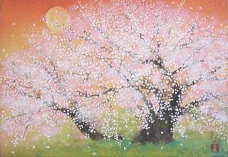 「千年臥龍桜」日本画 SM