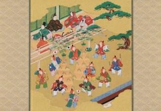林 美木子 「人日 一月 左義長図」j軸寸法104×29.5cm  軸先:中村宗哲/一文字:江里朋子
