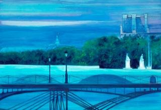 「セーヌに架かる橋ポンテザール」油彩  150×150㎝