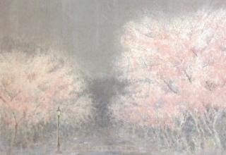 「花しぐれ」日本画 43.1×57㎝