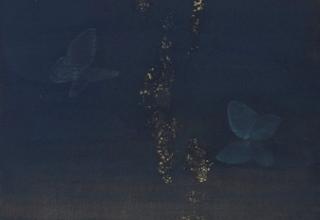 「咲き始め」日本画 45.5×23.5cm