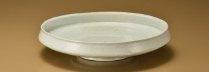 岡晋吾 白沙瓷灰被盤 28×6.5cm