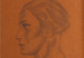 藤田嗣治「女の横顔-Femme de profil-」33×25cm