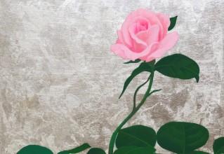 佐々木理恵子 「小さな庭-バラ-」 日本画  23.5×23.5cm