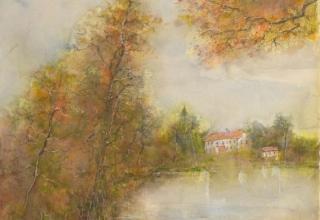 ガントナー 「湖畔の道」 6号 水彩