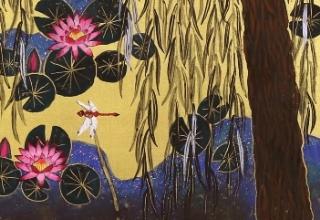 「モネの池・柳」日本画20号