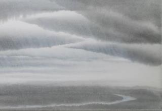 田中みぎわ  「天の原」 墨  胡粉  雲肌麻紙 53×33.3cm