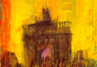 吉岡耕二 「凱旋門(ルーブル)」油彩65×65 S15号