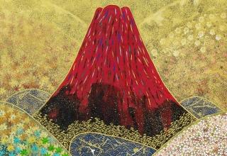平松礼二「赤富士図」日本画20号