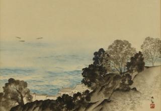 横山大観 「伊豆の海 」紙本彩色24×27㎝