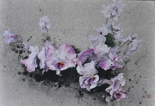 小倉亜矢子 「春風受けて」 日本画15号