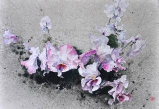 小倉亜矢子 「春風受けて」 日本画 P15号