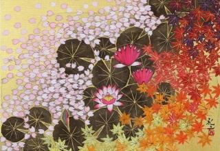 平松礼二「モネの池 春秋図」日本画 F6号