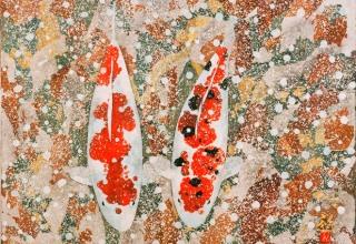 平松礼二「雪鯉図」日本画 6号 2006年