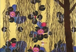 平松礼二 「モネの池・柳」 日本画12号
