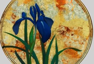 佐々木理恵子 「小さな庭-杜若」_日本画 直径25㎝