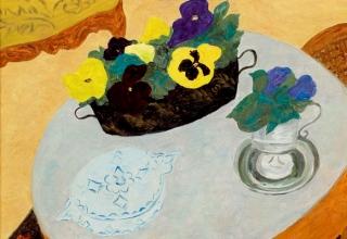 ボンコンパン「テーブルの上のパンジー」油彩10号