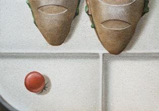 「ぽかぽか」キャンバス, 油彩, 砂 H15.8 × W22.7 cm (SM)