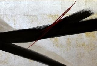 篠田桃紅 「無題」 40×150cm 墨・朱・銀泥・金箔・プラチナ箔篠田桃紅 「無題」 50×30cm 墨・銀泥・金箔