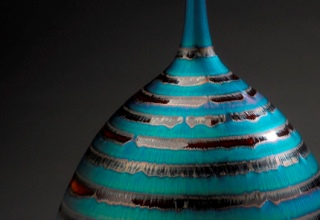 「Bottle with blue and brown glaze」陶磁器  H47.8×W28