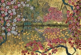 平松礼二 「モネの池に梅の花」 日本画6号