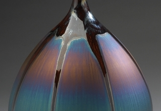 「Bottle with Blue and brown glaze」陶磁器  H41xW24cm