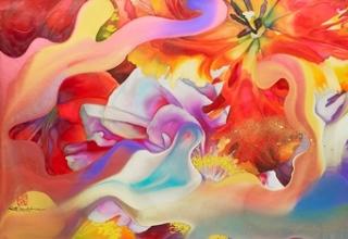 岩田壮平「Flower inundation」紙本彩色 60×160cm