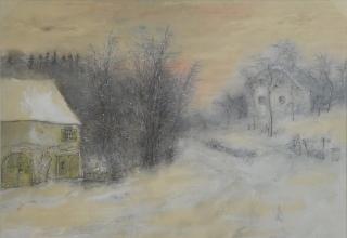 ベルナール・ガントナー「雪の夜明け」水彩5号