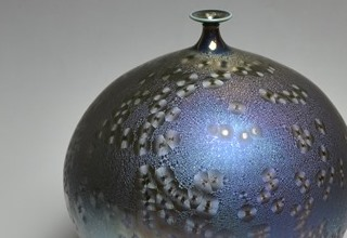 「Vase with Sea foam Blue glaze」陶磁器 H25xW21.5cm