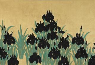 平松礼二 「倣・光琳燕子花図」 日本画65.2×32.7cm