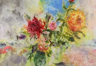 大和田いずみ 「Flowers 赤いワラタ」 油彩F30号