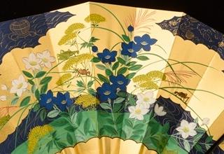 林美木子「月次扇 十月 秋草図」W51.5×H36.5cm