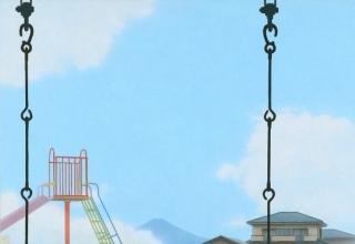 「富士」アクリル・高知麻紙  33.3×53cm