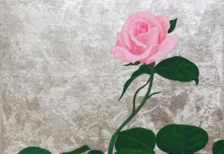 「小さな庭ーバラー」日本画23.5×23.5㎝