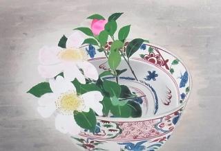 小倉遊亀 「赤絵」 木版画
