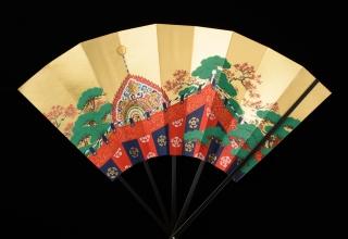 林美木子 「月次扇 11月 紅葉賀図」 H36.5W×51.5
