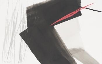 篠田桃紅 「ドローイングB」墨・朱 39×60cm