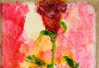 大和田いずみ「バラ」油彩 13×10cm