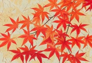 「秋の色Ⅰ」日本画 35×70