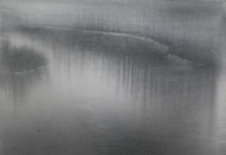 「霧の音」墨・胡粉/雲肌麻紙 45.5×60㎝