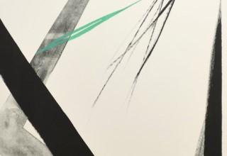篠田桃紅 「Arriving」 47.152×.5cm リトグラフ