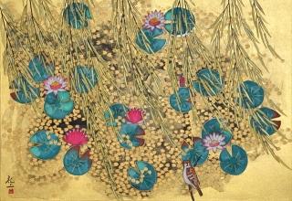 平松礼二「ジヴェルニー光る池」日本画