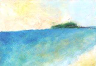 大和田いずみ「江ノ島」油彩F8号