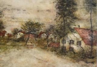 ベルナール・ガントナー「秋の家路」リトグラフ DX版