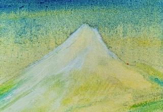 「富士の夜 Soir sur  le FUJI」油彩 15×15cm
