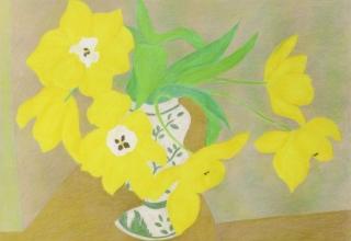 「黄色いチューリップ」リトグラフ  47.7×62cm