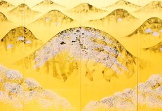 平松礼二「「吉野桜景」日本画 四曲一隻 2005年制作